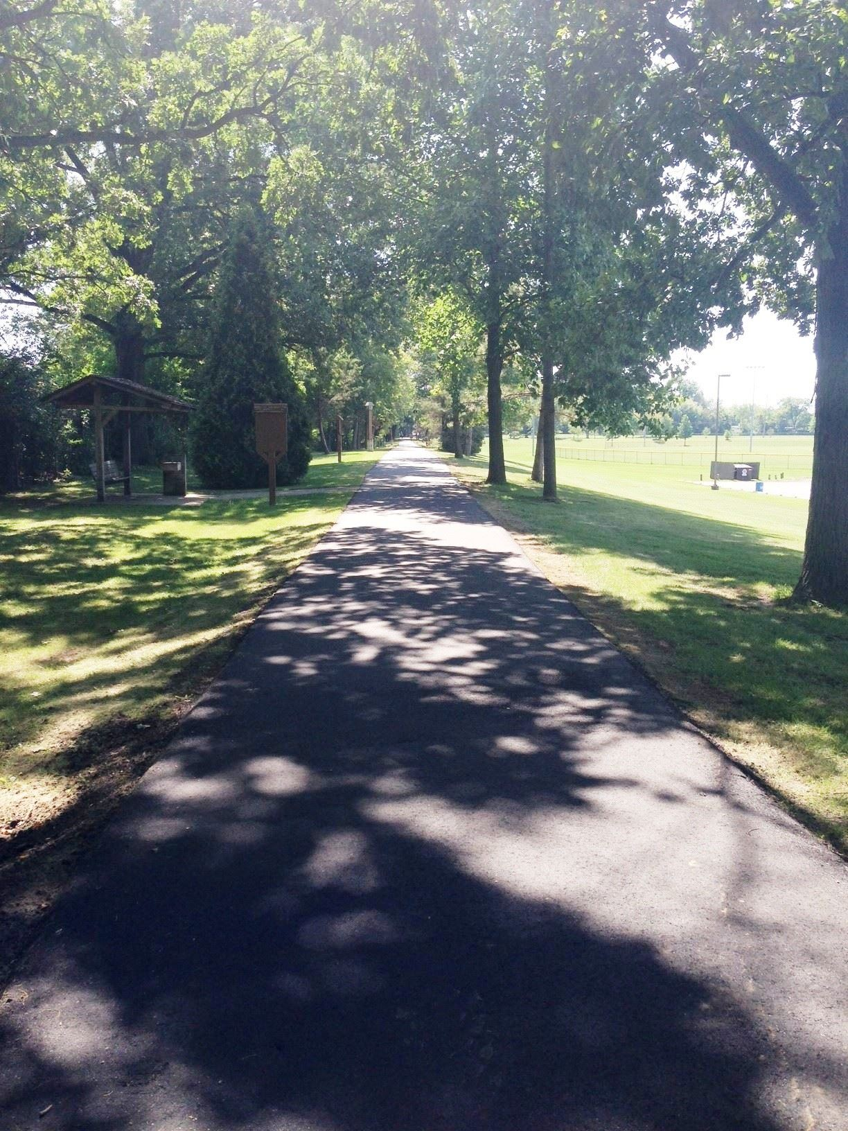 newly paved east side in shade